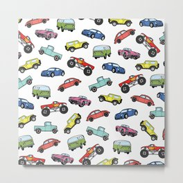 Cute Colorful Toy Car Illustration Pattern Metal Print