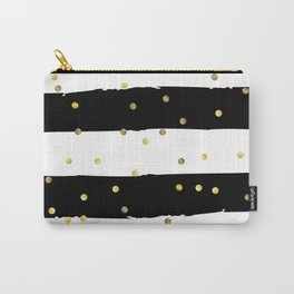 Black and white grunge striped background with Gold confetti Carry-All Pouch