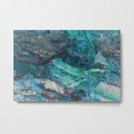 Cerulean Blue Marble Metal Print