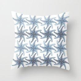 Blue Watercolor Flower Throw Pillow