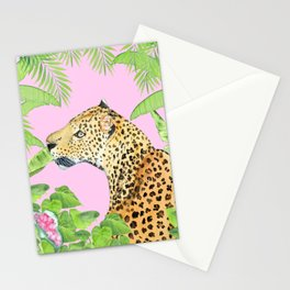 Leopard in Jungle, Transparent Background Stationery Cards