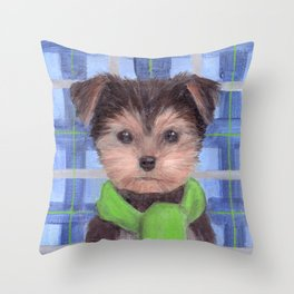 Yorkie Poo in Scarf Throw Pillow