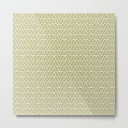 Abstract geometric pastel green white gradient triangles Metal Print