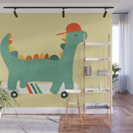 Dinosaur on retro skateboard Wall Mural