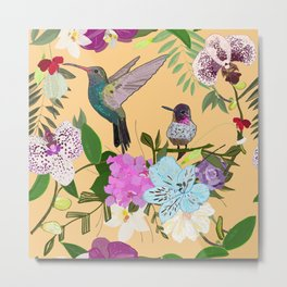 Orchid, alstroemeria and cute humming birds pattern Metal Print
