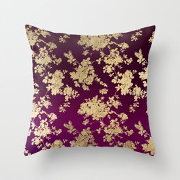 Chic faux gold burgundy ombre watercolor floral Throw Pillow