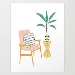 Pink armchair Art Print