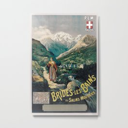 PLM Brides Les Bains Vintage Travel Poster Metal Print