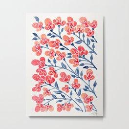 Cherry Blossoms – Melon & Navy Palette Metal Print