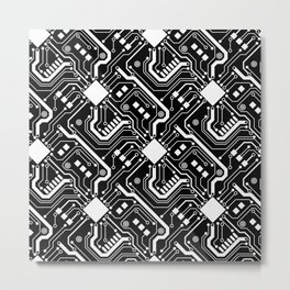 Printed Circuit Board - White on Black Metal Print