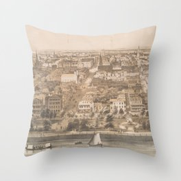 Vintage Pictorial Map of Charleston SC (1851) Throw Pillow
