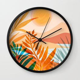 Golden Greek Garden / Sunset Landscape Wall Clock
