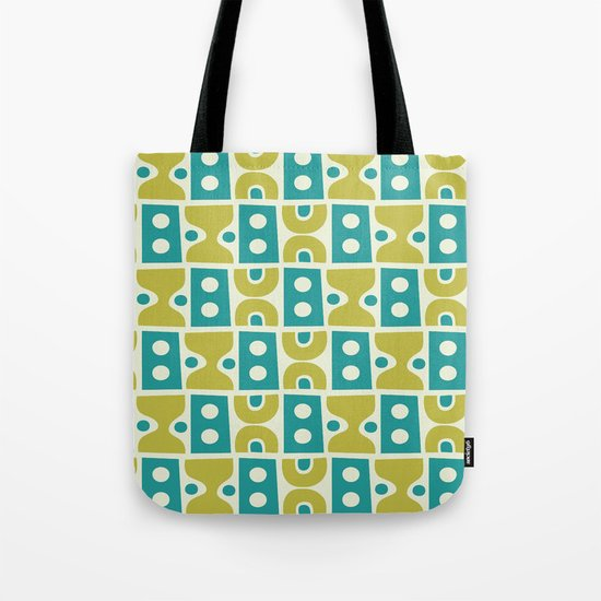 Funky Mid Century Modern Pattern 773 Turquoise and Chartreuse by tonymagner