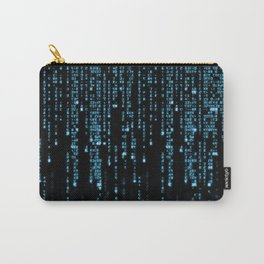 Matrix Binary Blue Code Carry-All Pouch