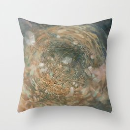Nest and Feathers Throw Pillow