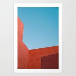 geometric minimalist shapes on a blue sky canvas Art Print