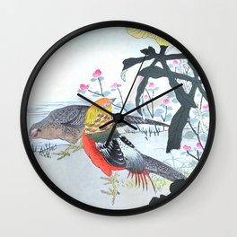 Couple Of Golden Pheasants And Yellow Flowers - Antique Japanese Woodblock Print Art By Kono Bairei Wall Clock