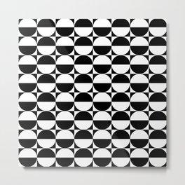 Mid Century Modern Half Circles Pattern Black and White Metal Print