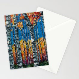 Colorado Aspen Grove Palette Knife Painting  Stationery Cards