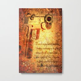 M1911 Pistol And Second Amendment On Rusted Overlay Metal Print