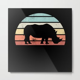 Vintage Retro Rhino Rhinoceros Sunset Metal Print