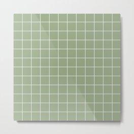 Grid Pattern Sage White 9AAB89 Stripe Line Minimal Stripes Lines Metal Print