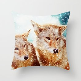 Lovely Wolf Couple Under the Snow Throw Pillow