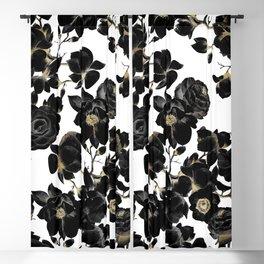 Modern Elegant Black White and Gold Floral Pattern Blackout Curtain