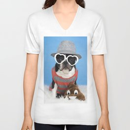 Little Shit Boston Terrier Unisex V-Neck