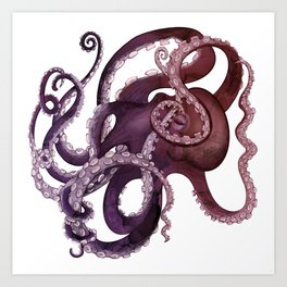 The Purple Octopus - Vintage Ocean Monster Art Print