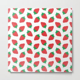 Cream Strawberries Pattern Metal Print