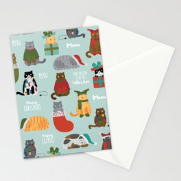 Naughty Christmas Cats with Words Stationery Cards