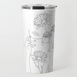 Minimal Line Art Woman with Flowers III Travel Mug