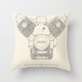 Original technical drawing, italian motorcycle engine, retro garage sign, vintage mechanic Throw Pillow