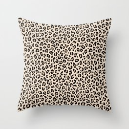 BLACK and WHITE LEOPARD PRINT – Ecru | Collection : Leopard spots – Punk Rock Animal Prints. Throw Pillow