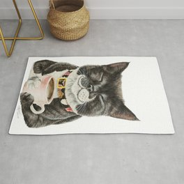 Purrfect Morning , cat with her coffee cup Rug