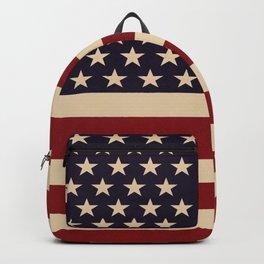 American Flag Vintage Americana Red Navy Blue Beige Backpack