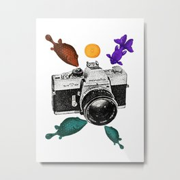Surreal Collage Fishes with a vintage camera and an orange Metal Print