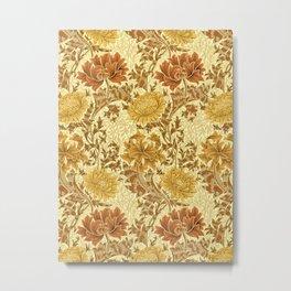 William Morris Chrysanthemums, Mustard Gold Metal Print