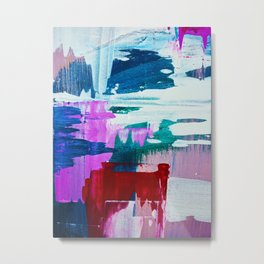 First Bloom: A vibrant abstract piece in purple, blues, and red by Alyssa Hamilton Art  Metal Print