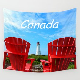 Chairs and Lighthouse, Canada Wall Tapestry