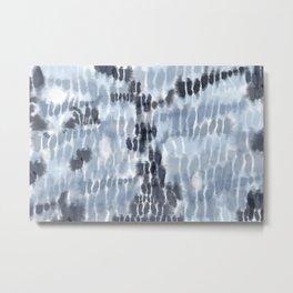 Blue Tie-Dye Squares Metal Print