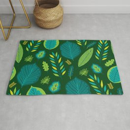 Tropical Flora 5 on Green Rug
