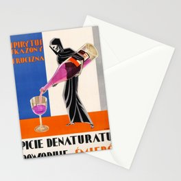 Vintage 1930 Drinking Absinthe Causes Death Alcoholic Beverage Advertising Poster Stationery Cards