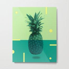 Pineapple Print - Tropical Decor - Botanical Print - Pineapple Wall Art - Blue, Teal, Aqua - Minimal Metal Print