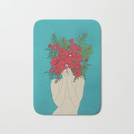 Blooming Red Bath Mat