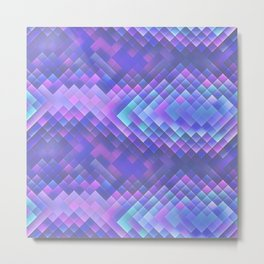 Indigo Violet Bright Squares Pattern Metal Print