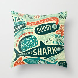 How to avoid a shark attack Throw Pillow