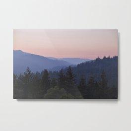 Sunset in the Santa Cruz Mountains Metal Print
