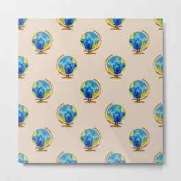 Let's Travel To Equator - Globe Pattern in Blue and Beige Metal Print